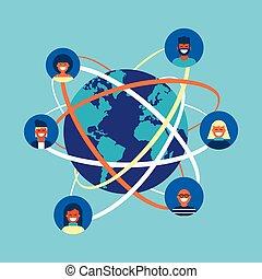 概念, ネットワーク, 人々, 世界的である, インターネット, チーム, 社会
