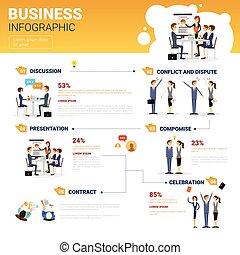 概念, ビジネス, スペース, プレゼンテーション, セット, infographics, コピー, ミーティング, セミナー