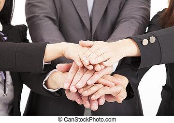 概念, ビジネス, 一緒に, 手, チームワーク, チーム