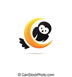 概念, フクロウ, 月, 黄色, ロゴ