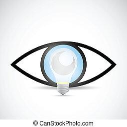 概念, ライト, イラスト, idea., ビジュアル, 電球