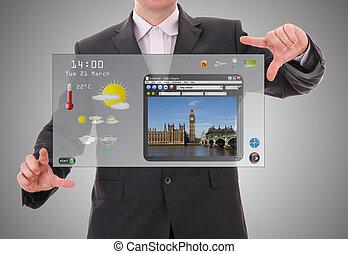 概念, 世界グラフィック, 作られた, ユーザー, デジタル, インターフェイス, ビジネスマン, プレゼンテーション, 未来派