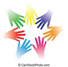 概念, 人々, 他, 共同体, 持たれた, 結び付き, 協力, グループ, ネットワーキング, 指摘, カラフルである, チーム, イラスト, 助けになっている手, 人々, 一緒に, 多人種である, それぞれ, 精神, ∥など∥., 社会