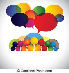 概念, 人々, 多様, メンバー, 人種的, スタッフ, 管理, &, 媒体, -, また, 板, vector., 白, ショー, ネットワーク, カラフルである, 会社, 従業員, 会議, つば, multi, グラフィック, 社会, 経営者