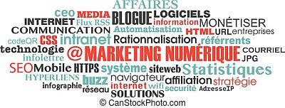 概念, 単語, マーケティング, タグ, デジタル, 雲