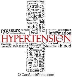 概念, 単語, 形づくられた, 交差点, 高血圧, 赤い黒字, 雲