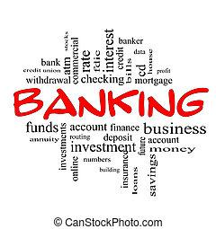 概念, 単語, &, 銀行業, 黒い赤, 雲