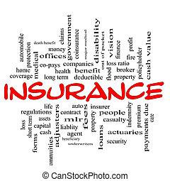 概念, 単語, &, 黒い赤, 保険, 雲