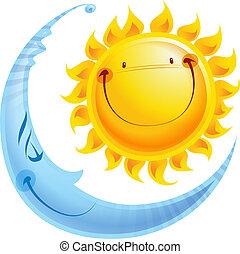 概念, 太陽, 月, 特徴, 夜, 漫画, 日