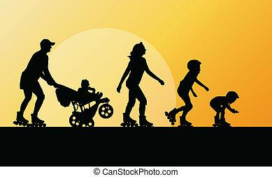 概念, 家族, ベクトル, 背景, スケート, ローラー