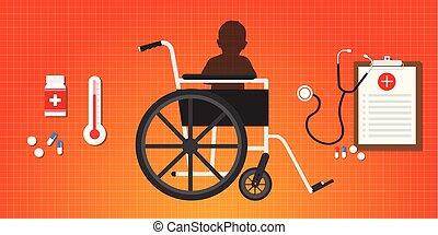 概念, 座りなさい, 大脳である, 車椅子, 麻痺, 赤ん坊, 子供