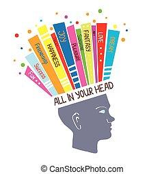 概念, 心理学, 考え, ポジティブ, イラスト, 感情, 楽天的である