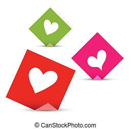 概念, 愛, メモ, バレンタイン, ベクトル, hearts., ペーパー, セット, 付せん