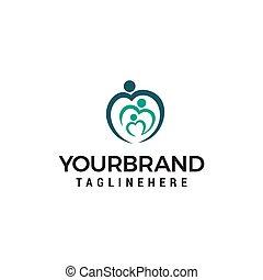 概念, 愛, 家族, ベクトル, デザイン, テンプレート, ロゴ