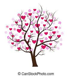 概念, 愛, 木, バレンタイン, ベクトル, 日
