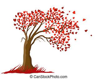 概念, 愛, illustration., 木, ベクトル, デザイン, カード, ロマンチック
