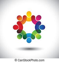 概念, 抽象的, 経営者, 子供, スタッフ, 地位, アイコン, 労働者, circle., また, カラフルである, グラフィック, ミーティング, 議論, 表す, 学校の 子供, これ, 従業員組合, ∥など∥, ベクトル, ∥あるいは∥