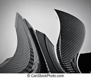 概念, 抽象的, 超高層ビル, ビジネス, 建築