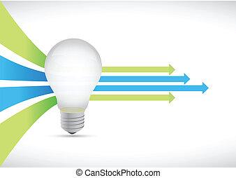 概念, 有色人種, ライト, 矢, 考え, 電球, リーダー
