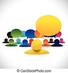 概念, 話し, &, empl, マネージャー, ベクトル, メンバー, ミーティング, リーダー