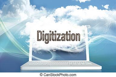 概念, digitization, イラスト, 3d