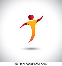 概念, graphic., スポーツ, エアロビクス, 回転, 人, -, また, ダンス, ヨガ, ダンス, イラスト, アイコン, ハエ, 表す, のように, これ, ∥など∥, ベクトル, 曲芸, 活動, 体操
