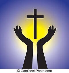 概念, graphic., 黄色, イエス・キリスト, 青, キリスト, 太陽, 保有物, 主, 崇拝, キリスト教徒, 神聖, 提示, イラスト, cross-, 信心深い, 背景, 忠実, 信頼, これ, 人, ベクトル