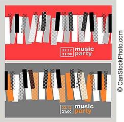 概念, illustration., キー, ポスター, ジャズ, 現代, ベクトル, 手, ピアノ, コンサート