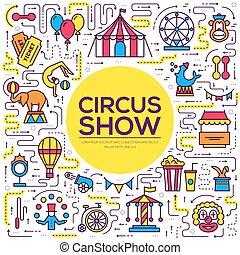概念, pictogram, 現代, infographic, pack., 品質, シンボル, アイコン, 祝祭, set., ショー, 線, テンプレート, イラスト, ロゴ, 平ら, サーカス, 優れた, 線である, シンボル, アウトライン, ベクトル, 薄くなりなさい