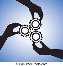 概念, success., 成功, 人々, 共同, チーム, 協力, イラスト, 含む, シルエット, グラフィック, チームワーク, 一緒に, 手を持つ, 手, はめば歯車, 指摘, 参加する