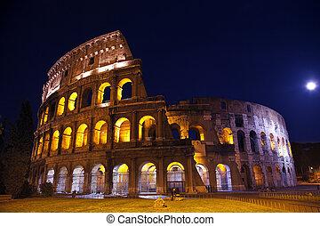 概観, 夜, 月, ローマ, colosseum, イタリア