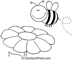 概説された, 上に飛ぶ, 花, 蜂
