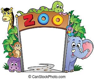 様々, 入口, 動物, 動物園