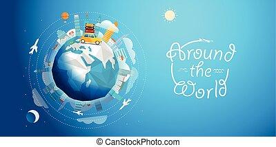 横切って, ベクトル, 世界, 車。, 旅行, 旅行, イラスト, 概念