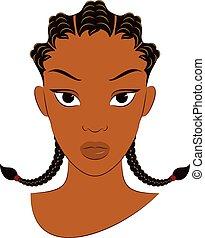 横列, アフリカ, 女の子, トウモロコシ, ひだ, ブレード