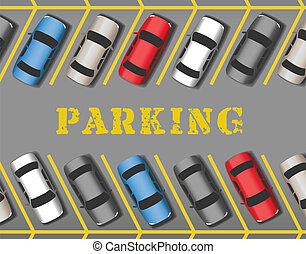 横列, 自動車, 公園, たくさん, 駐車, 店