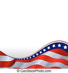横, 旗, アメリカ人, 背景