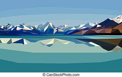 横, lake., 景色。, 山, 多角形, 雪