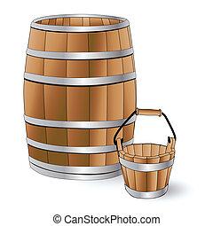 樽, バケツ, 木製である