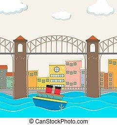 橋眺め, ボート, 都市