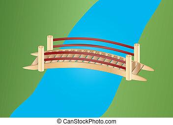 橋, わずかしか, 上に, 入り江
