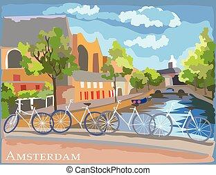 橋, カラフルである, 上に, bicycles, アムステルダム, 運河