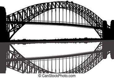 橋, シルエット, シドニー 港