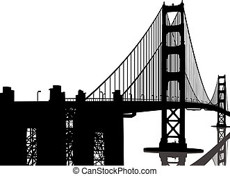 橋, シルエット, 門, 金