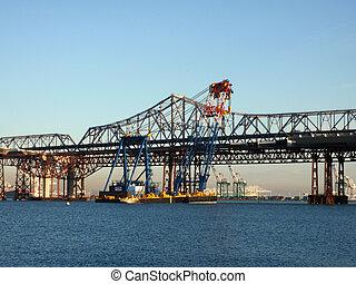 橋, セクション, 大きい, 上昇, 場所, てんま船, クレーン