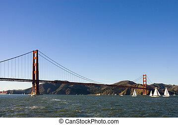橋, ボート, 門, 金