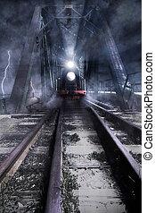 橋, 上に, 列車, 乗車