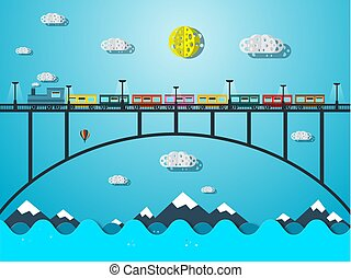 橋, 上に, 列車, 海, 川, ∥あるいは∥