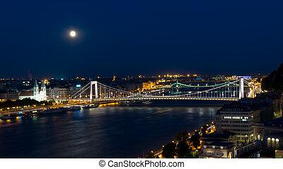 橋, 上に, 月