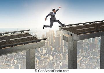橋, 上に, 跳躍, 若い, ビジネスマン